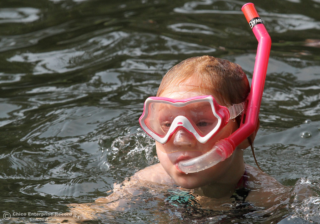 . Anja Cole, 5, does a little snorkeling at Sycamore Pool at One Mile Recreation Area of Bidwell Park on August 14, 2012. (Bill Husa/Chico Enterprise-Record)