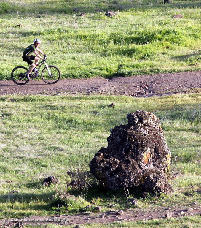 . A bicyclist rides along a trail as people enjoy the warm weather in upper Bidwell Park on March 13, 2013 in Chico, Calif.  (Jason Halley/Chico Enterprise-Record)