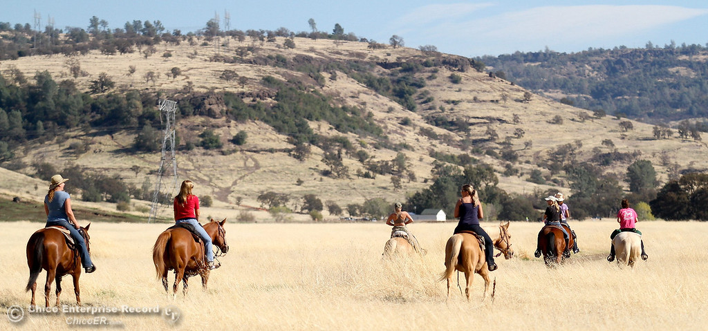 . A group of women from Chico and Redding enjoy a ride through upper Bidwell Park on November 7, 2012. Cathy Fell and Gerri Kuykendall of Chico were among the group and said they were riding the lower trail. (Bill Husa/Chico Enterprise-Record)