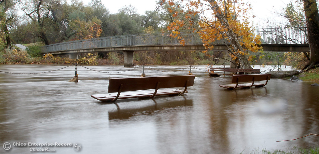 . Water from Big Chico Creek flooded Five Mile Recreation Area in upper Bidwell Park on November 30, 2012. (Bill Husa/Chico Enterprise-Record)