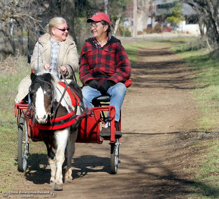 ". Marghee O\'Donnell and Peach York, both of Oroville, were out riding a ""Horse Cart\"" pulled by a 7-year-old Shetland pony named \""Farik\"" on January 21, 2013. They ride in Oroville several times a week but thought today\'s spring like weather was worth a trip to Bidwell Park. (Ty Barbour/Chico Enterprise-Record)"