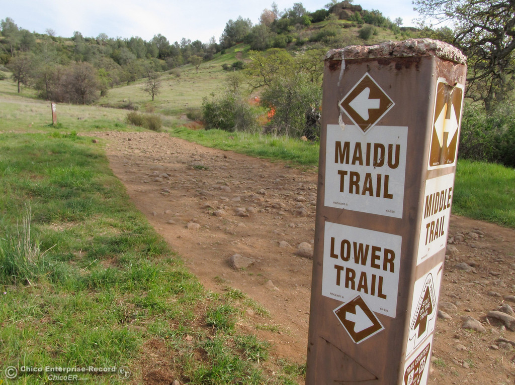 . The Maidu Trail and Lower Trail sign in upper Bidwell Park on March 14, 2013. (Bill Husa/Staff Photo)