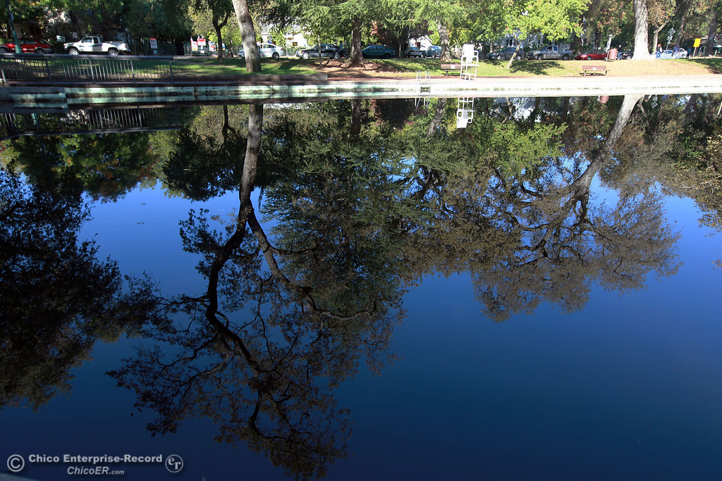 . A clean reflection of Sycamore Pool is produced by still waters at One Mile Recreation Area in lower Bidwell Park on October 27, 2012 in Chico, Calif. (Jason Halley /Chico Enterprise-Record)