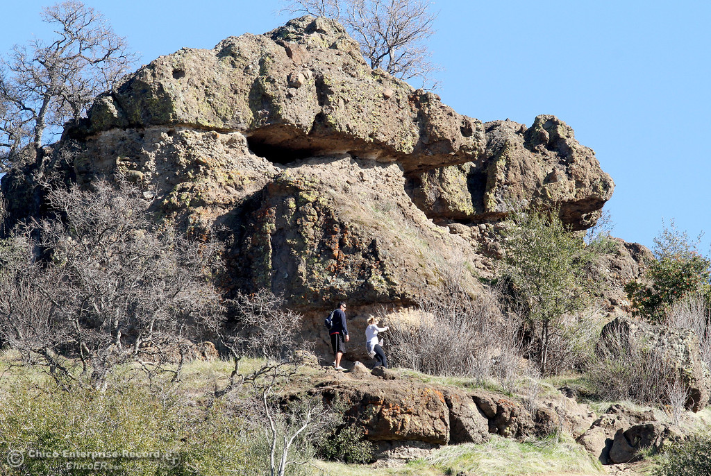 . Hikers check out the view from Monkey Face in upper Bidwell Park on  January 21, 2013. (Bill Husa/Chico Enterprise-Record)
