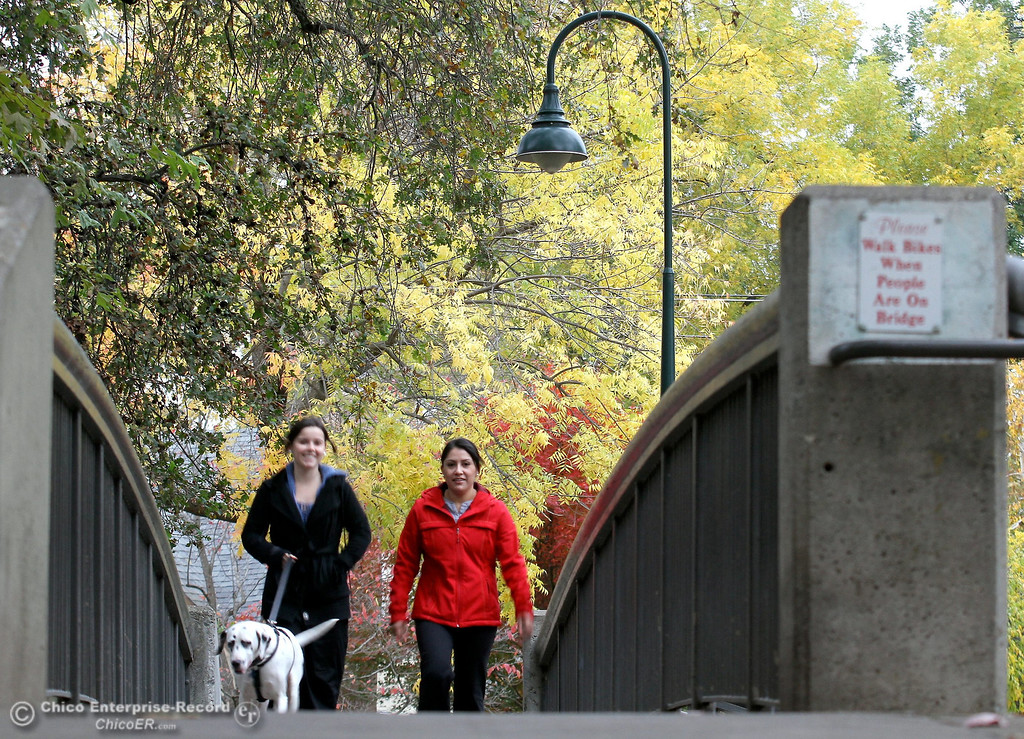 ". Kendall Enns (left) and Marlene Romero, of Chico, walk ""Elsie\"" the dog across the footbridge at Sycamore Pool among the fall colors at One Mile Recreation Area in lower Bidwell Park on November 19, 2012. (Bill Husa/Chico Enterprise-Record)"