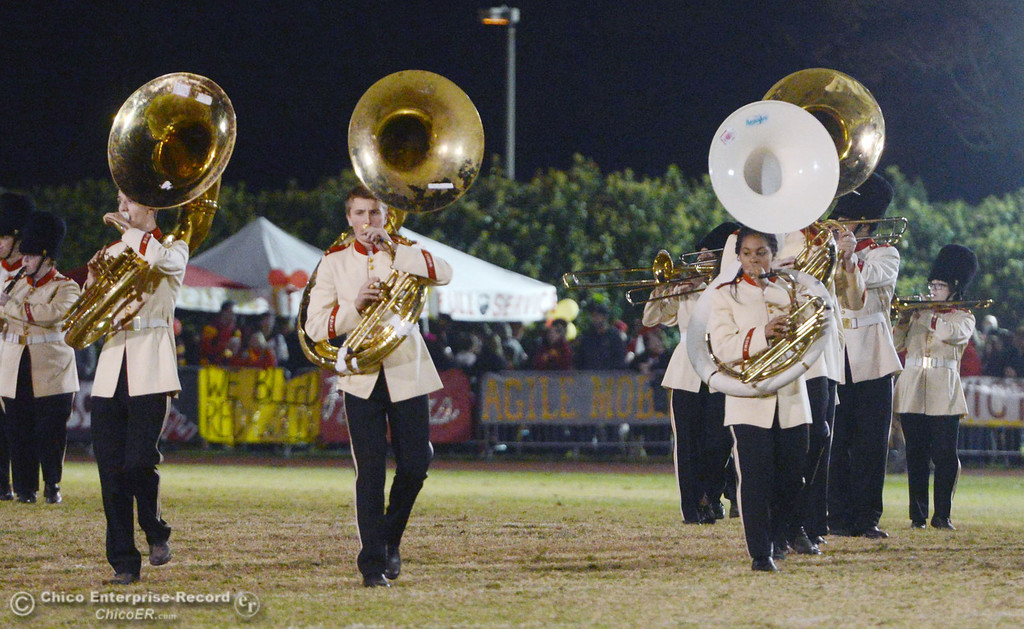 . Chico High band plays against Pleasant Valley High during halftime of their Almond Bowl football game at CSUC University Stadium Friday, November 1, 2013 in Chico, Calif.  (Jason Halley/Chico Enterprise-Record)