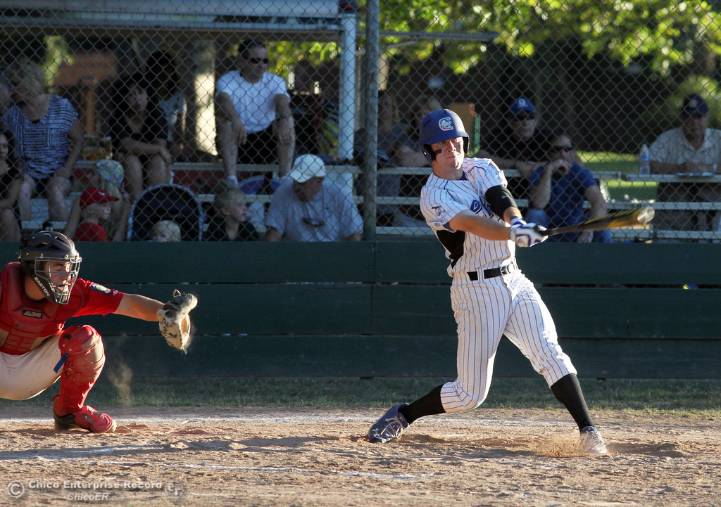 . Chico Nuts\' #20 Jackson Murphy swings on a pitch at bat against Yolo Post 77 in the bottom of the first inning during their American Legion baseball game at Doryland Field Thursday, July 18, 2013 in Chico, Calif.  (Jason Halley/Chico Enterprise-Record)