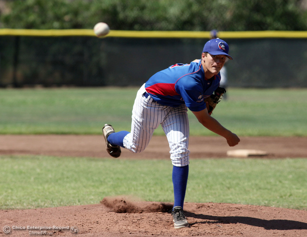 . Chico Nuts\' #5 Greg Darms pitches against Yolo Post 77 in the top of the first inning during their American Legion baseball game at Doryland field Saturday, July 20, 2013 in Chico, Calif.  (Jason Halley/Chico Enterprise-Record)