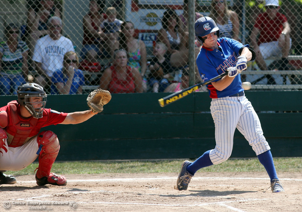 . Chico Nuts\' #20 Jackson Murphy swings on a pitch against Yolo Post 77 in the bottom of the first inning during their American Legion baseball game at Doryland field Saturday, July 20, 2013 in Chico, Calif.  (Jason Halley/Chico Enterprise-Record)