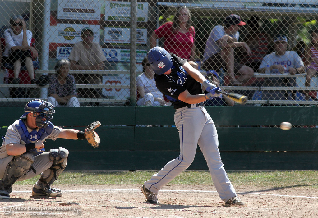 . Chico Nuts\' #4 Clayton Schuler attempts a single against Redding Tigers in the top of the second inning during their American Legion baseball game at Doryland field Friday, July 19, 2013 in Chico, Calif.  (Jason Halley/Chico Enterprise-Record)