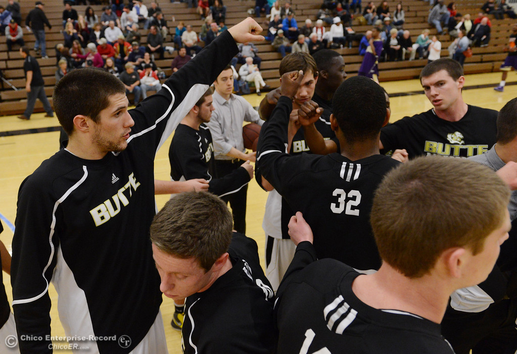 . Butte College warms up against San Jose City College before the first half of their men\'s basketball game at Butte\'s Cowan Gym Friday, February 28, 2014 in Oroville, Calif.  (Jason Halley-Chico Enterprise-Record)