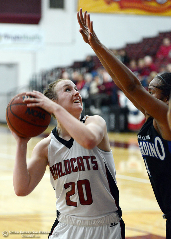 . Chico State\'s #20 Annie Ward goes up for a shot against Cal State San Bernardino in the first half of their women\'s basketball game at CSUC Acker Gym Saturday, February 8, 2014 in Chico, Calif.  (Jason Halley/Chico Enterprise-Record)