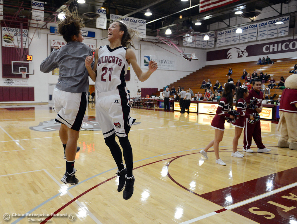 . Chico State\'s #11 Hannah Womack (left) and #21 Courtney Hamilton (right) get ready against UC San Diego in the first half of their women\'s basketball game at CSUC Acker Gym Friday, February 7, 2014 in Chico, Calif.  (Jason Halley/Chico Enterprise-Record)