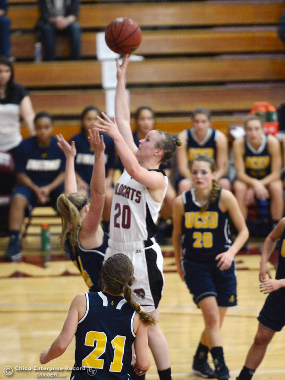 . Chico State\'s #20 Annie Ward takes a shot against UC San Diego in the first half of their women\'s basketball game at CSUC Acker Gym Friday, February 7, 2014 in Chico, Calif.  (Jason Halley/Chico Enterprise-Record)