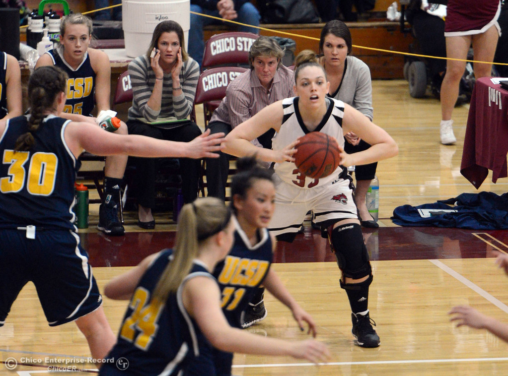 . Chico State\'s #33 Ashtyn Anderson (center) passes against UC San Diego in the first half of their women\'s basketball game at CSUC Acker Gym Friday, February 7, 2014 in Chico, Calif.  (Jason Halley/Chico Enterprise-Record)