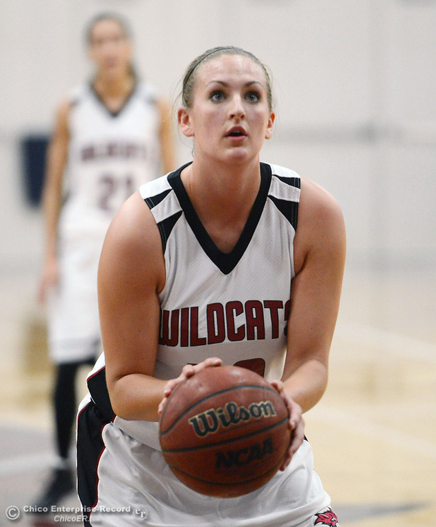 . Chico State\'s #40 Analise Riezebos takes a free throw against Sonoma State in the second half of their women\'s basketball game at CSUC Acker Gym Friday January 31, 2014 in Chico, Calif. (Jason Halley/Chico Enterprise-Record)