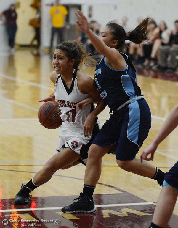 . Chico State\'s #11 Hannah Womack (left) dribbles against Sonoma State\'s #21 Famh Fong (right) in the second half of their women\'s basketball game at CSUC Acker Gym Friday January 31, 2014 in Chico, Calif. (Jason Halley/Chico Enterprise-Record)