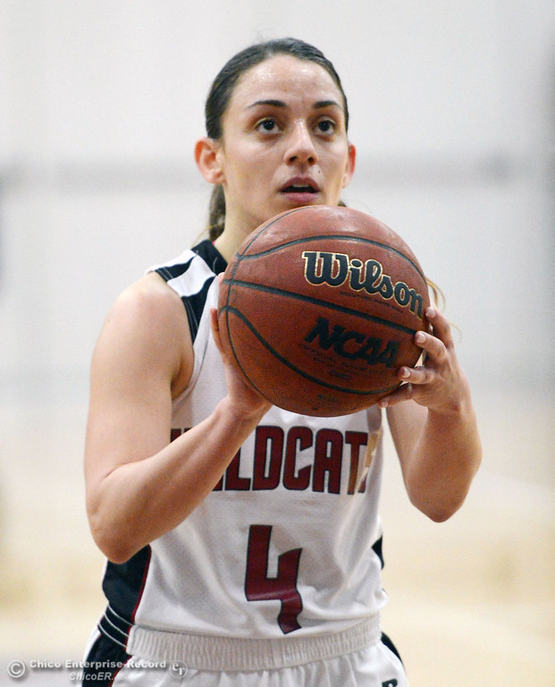 . Chico State\'s #4 Sarah Rebibo takes a free throw against Sonoma State in the second half of their women\'s basketball game at CSUC Acker Gym Friday January 31, 2014 in Chico, Calif. (Jason Halley/Chico Enterprise-Record)