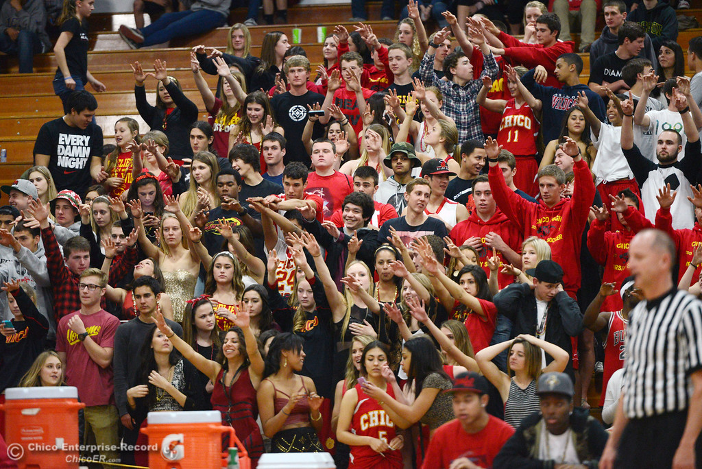 . Chico High fans against Pleasant Valley High in the fourth quarter of their boys basketball game at Acker Gym Saturday, March 8, 2014 in Chico, Calif.  (Jason Halley - Enterprise-Record)