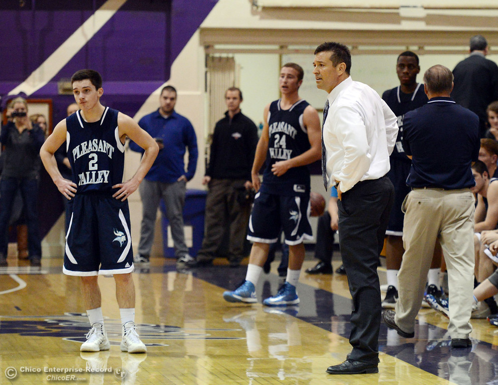 . Pleasant Valley High\'s coach Tim Keating received a technical foul against Oroville High in the fourth quarter of their boys basketball game at OHS Wednesday, February 19, 2014 in Oroville, Calif.  (Jason Halley/Chico Enterprise-Record)