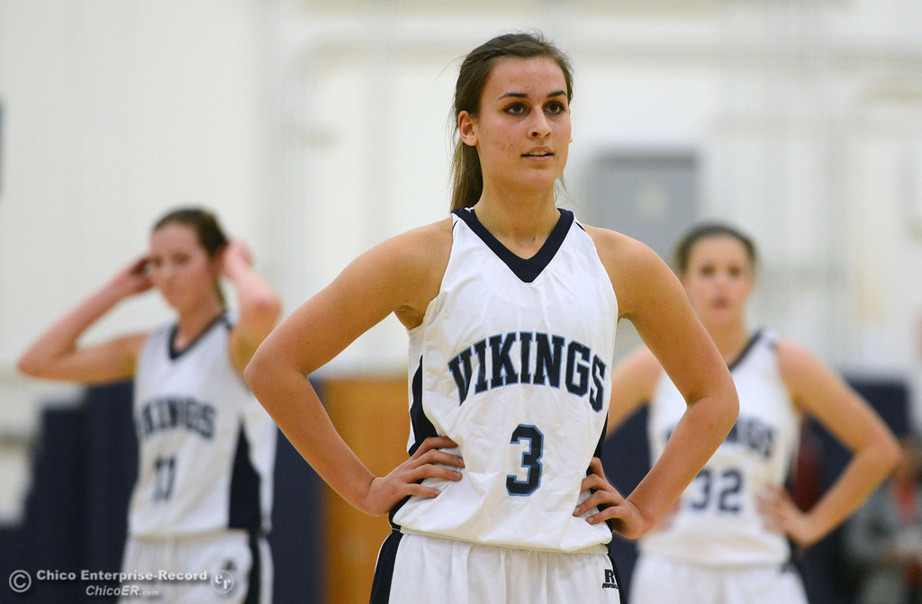 . Pleasant Valley High\'s #3 Izzy Bonacorsi readies to take a free throw against Colfax High in the first quarter of their girls basketball game at PV\'s Varley Gym Saturday, December 7, 2013 in Chico, Calif. (Jason Halley/Chico Enterprise-Record)