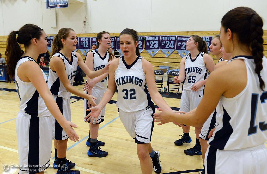 . Pleasant Valley High\'s #32 Natalie Makel (center) is introduced against Colfax High in the first quarter of their girls basketball game at PV\'s Varley Gym Saturday, December 7, 2013 in Chico, Calif. (Jason Halley/Chico Enterprise-Record)