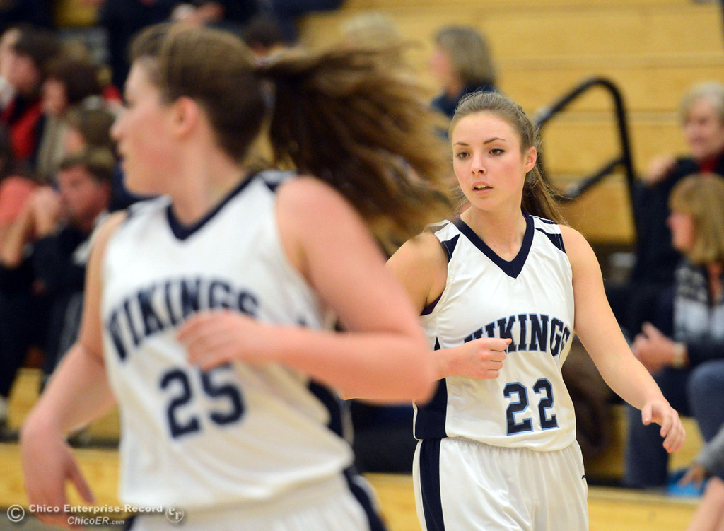 . Pleasant Valley High\'s #22 Ashley Geiger against Colfax High in the second quarter of their girls basketball game at PV\'s Varley Gym Saturday, December 7, 2013 in Chico, Calif. (Jason Halley/Chico Enterprise-Record)