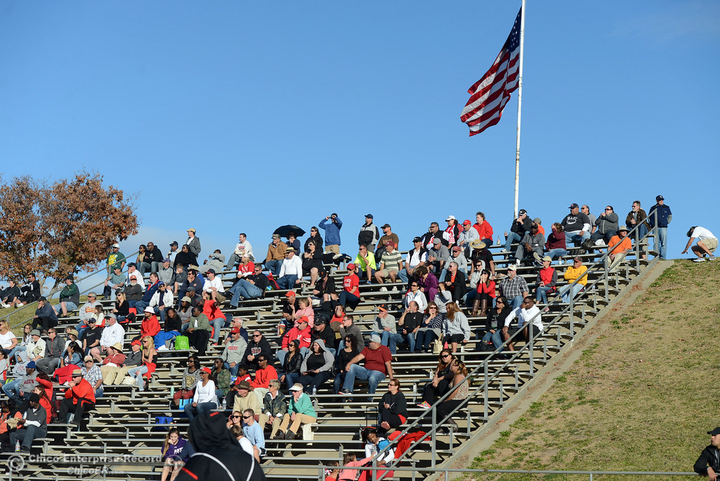 . City College of San Francisco fans fill the stands against Butte College in the third quarter of their football game at Butte\'s Cowan Stadium Saturday, November 16, 2013 in Butte Valley, Calif.  (Jason Halley/Chico Enterprise-Record)