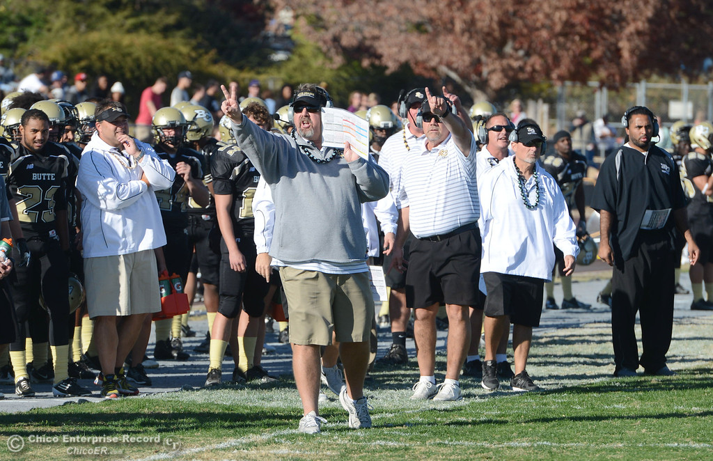 . Butte College head coach Jeff Jordan against City College of San Francisco in the second quarter of their football game at Butte\'s Cowan Stadium Saturday, November 16, 2013 in Butte Valley, Calif.  (Jason Halley/Chico Enterprise-Record)
