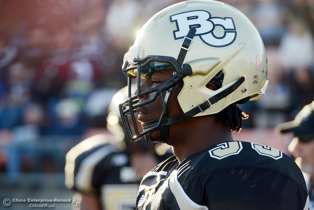 . Butte College\'s #33 Jariah Booker looks on against City College of San Francisco in the fourth quarter of their football game at Butte\'s Cowan Stadium Saturday, November 16, 2013 in Butte Valley, Calif.  (Jason Halley/Chico Enterprise-Record)