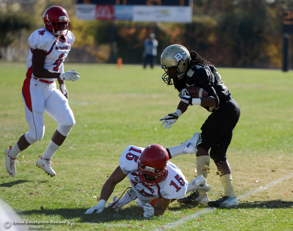 . Butte College\'s #87 Timazray Shepherd (right) is pushed out of bounds against City College of San Francisco\'s #15 Shalom Luani (bottom) as #4 Maurice Cannon (left) looks on in the first quarter of their football game at Butte\'s Cowan Stadium Saturday, November 16, 2013 in Butte Valley, Calif.  (Jason Halley/Chico Enterprise-Record)