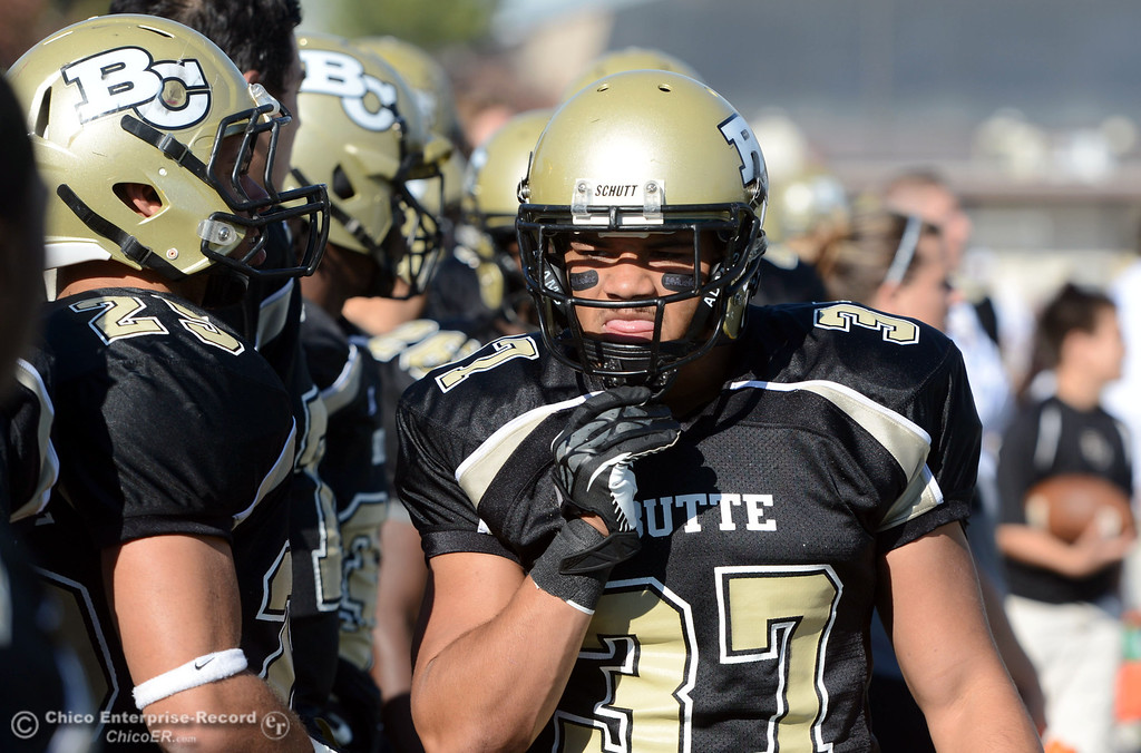 . Butte College\'s #37 Demetre Lopez against City College of San Francisco in the first quarter of their football game at Butte\'s Cowan Stadium Saturday, November 16, 2013 in Butte Valley, Calif.  (Jason Halley/Chico Enterprise-Record)