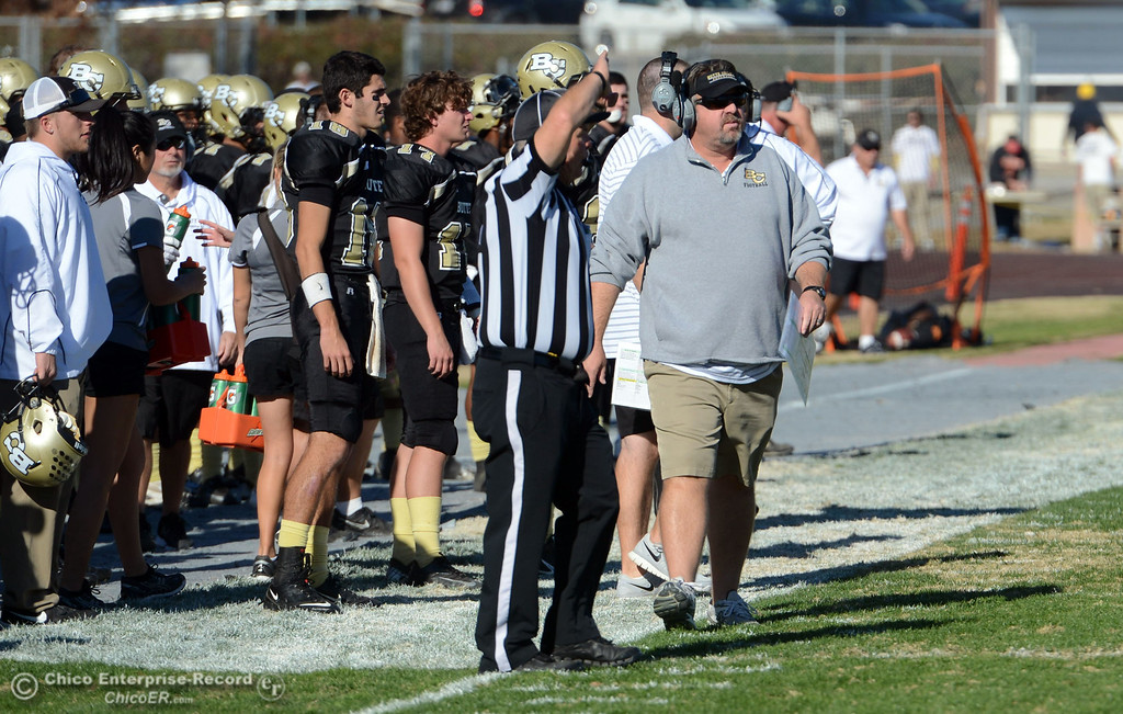 . Butte College head coach Jeff Jordan looks on against Fresno City College in the second quarter of their football game at Butte\'s Cowan Stadium Saturday, November 30, 2013 in Butte Valley, Calif.  (Jason Halley/Chico Enterprise-Record)