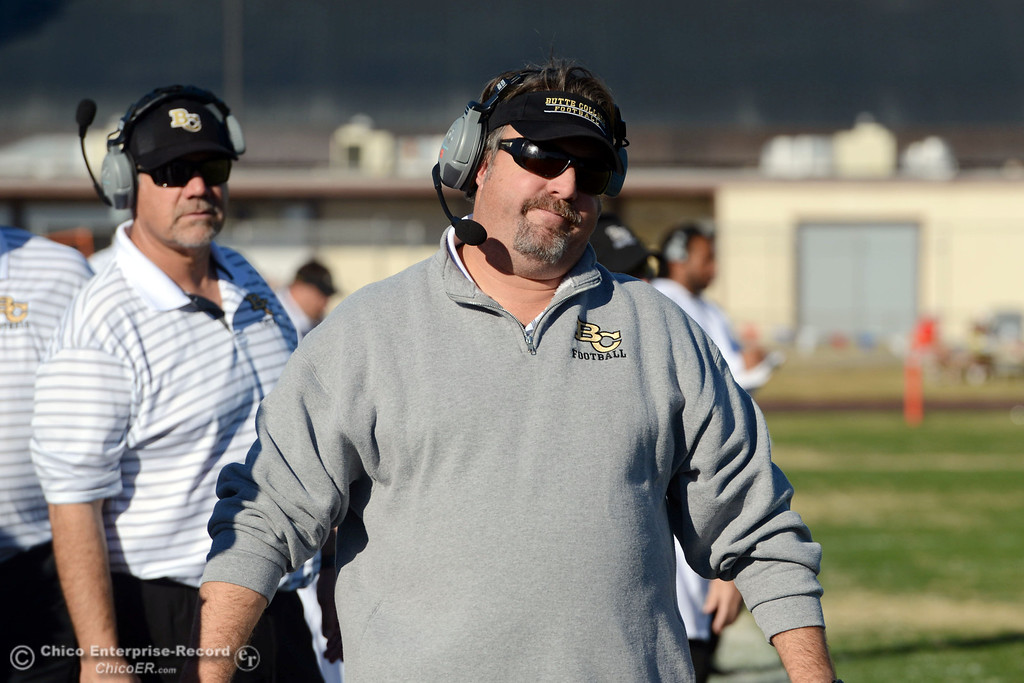 . Butte College head coach Jeff Jordan reacts to a flag being thrown on them against Fresno City College in the third quarter of their football game at Butte\'s Cowan Stadium Saturday, November 30, 2013 in Butte Valley, Calif.  (Jason Halley/Chico Enterprise-Record)
