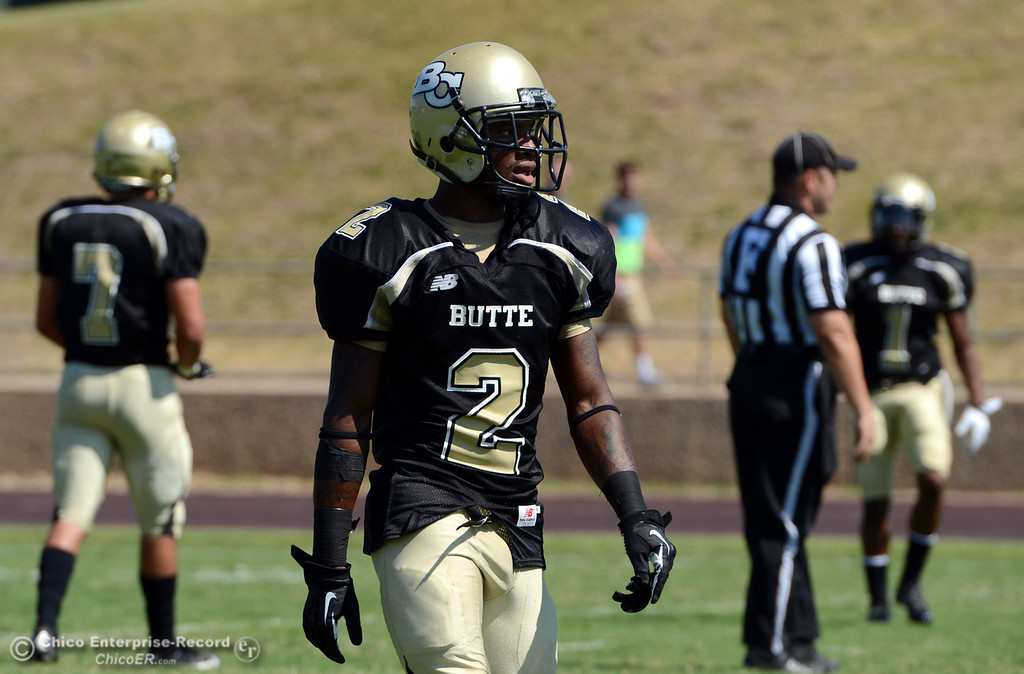 . Butte College\'s #2 Deonte Flemings looks on against College of the Siskiyous in the first quarter of their football game at Butte\'s Cowan Stadium on Saturday, September 14, 2013, in Oroville, Calif. (Jason Halley/Chico Enterprise-Record)