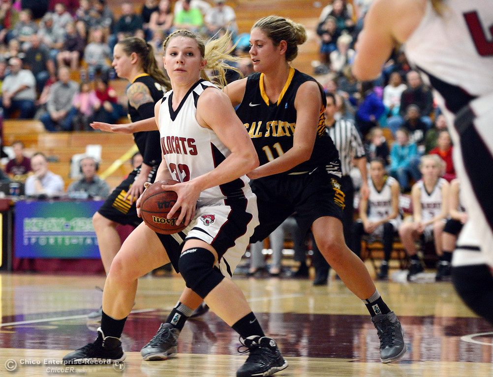 . Chico State\'s #32 Michelle Walker (left) dribbles against Cal State L.A.\'s #11 Bree Parsons (right) in the second half of their women\'s basketball game at CSUC Acker Gym Saturday, January 11, 2014 in Chico, Calif.  (Jason Halley/Chico Enterprise-Record)