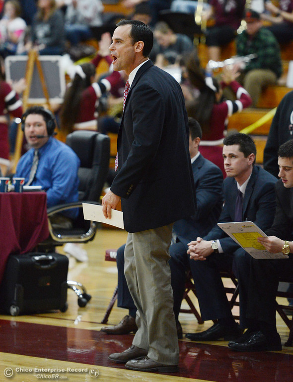 . Chico State head coach Greg Clink on the sidelines against Cal State San Bernardino in the second half of their men\'s basketball game at CSUC Acker Gym Saturday, February 8, 2014 in Chico, Calif.  (Jason Halley/Chico Enterprise-Record)