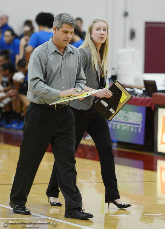 . Chico State head coach Brian Fogel (left) and Ali Mollet (right) against Cal State San Bernardino in the second half of their women\'s basketball game at CSUC Acker Gym Saturday, February 8, 2014 in Chico, Calif.  (Jason Halley/Chico Enterprise-Record)
