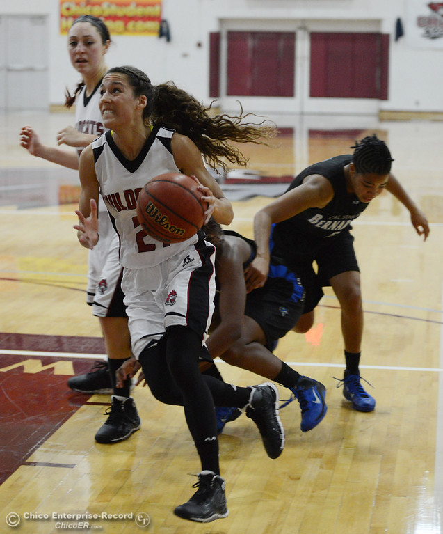 . Chico State\'s #21 Courtney Hamilton dribbles against Cal State San Bernardino in the first half of their women\'s basketball game at CSUC Acker Gym Saturday, February 8, 2014 in Chico, Calif.  (Jason Halley/Chico Enterprise-Record)