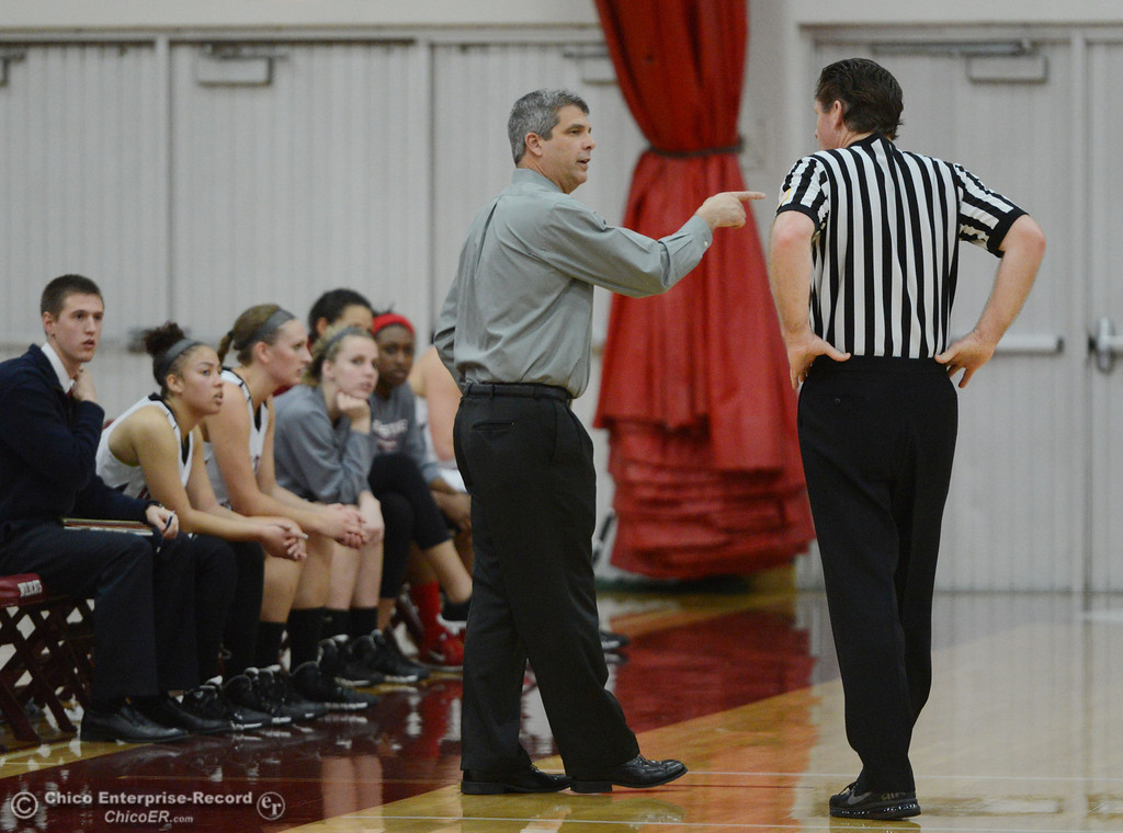 . Chico State head coach Brian Fogel takes to the official against Cal State San Bernardino in the first half of their women\'s basketball game at CSUC Acker Gym Saturday, February 8, 2014 in Chico, Calif.  (Jason Halley/Chico Enterprise-Record)