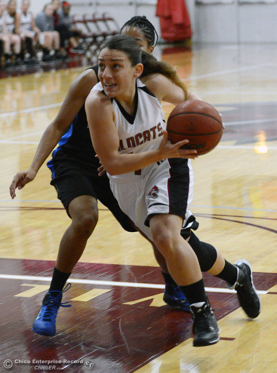 . Chico State\'s #4 Sarah Rebibo (front) dribbles against Cal State San Bernardino\'s #5 Tayllor Gipson (back) in the first half of their women\'s basketball game at CSUC Acker Gym Saturday, February 8, 2014 in Chico, Calif.  (Jason Halley/Chico Enterprise-Record)