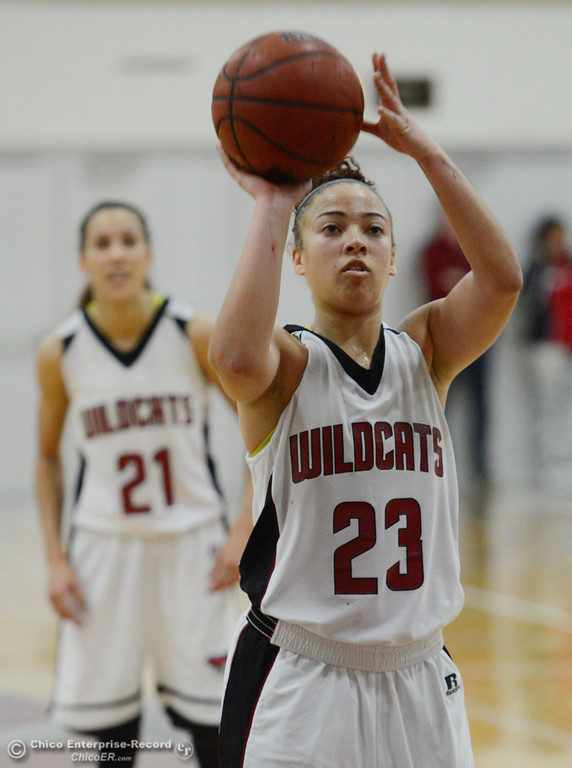 . Chico State\'s #23 Jazmine Miller takes a free throw against Cal State San Bernardino in the second half of their women\'s basketball game at CSUC Acker Gym Saturday, February 8, 2014 in Chico, Calif.  (Jason Halley/Chico Enterprise-Record)