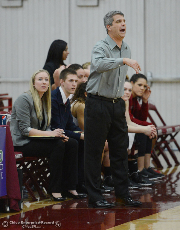 . Chico State head coach Brian Fogel on the sidelines against Cal State San Bernardino in the first half of their women\'s basketball game at CSUC Acker Gym Saturday, February 8, 2014 in Chico, Calif.  (Jason Halley/Chico Enterprise-Record)