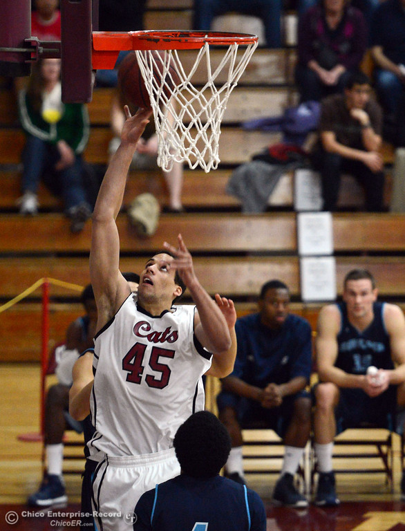 . Chico State\'s #45 Jordan Semple puts up a shot against Sonoma State in the first half of their men\'s basketball game at CSUC Acker Gym Friday January 31, 2014 in Chico, Calif. (Jason Halley/Chico Enterprise-Record)