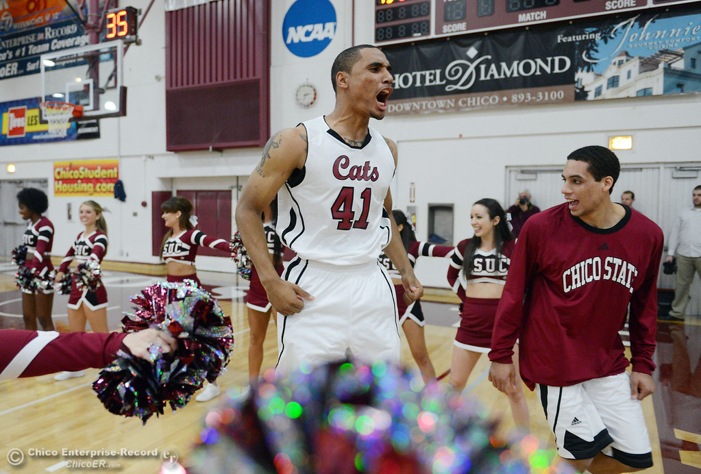 . Chico State\'s #41 Jordan Barton (center) and #45 Jordan Semple (right) get ready against Sonoma State in the first half of their men\'s basketball game at CSUC Acker Gym Friday January 31, 2014 in Chico, Calif. (Jason Halley/Chico Enterprise-Record)