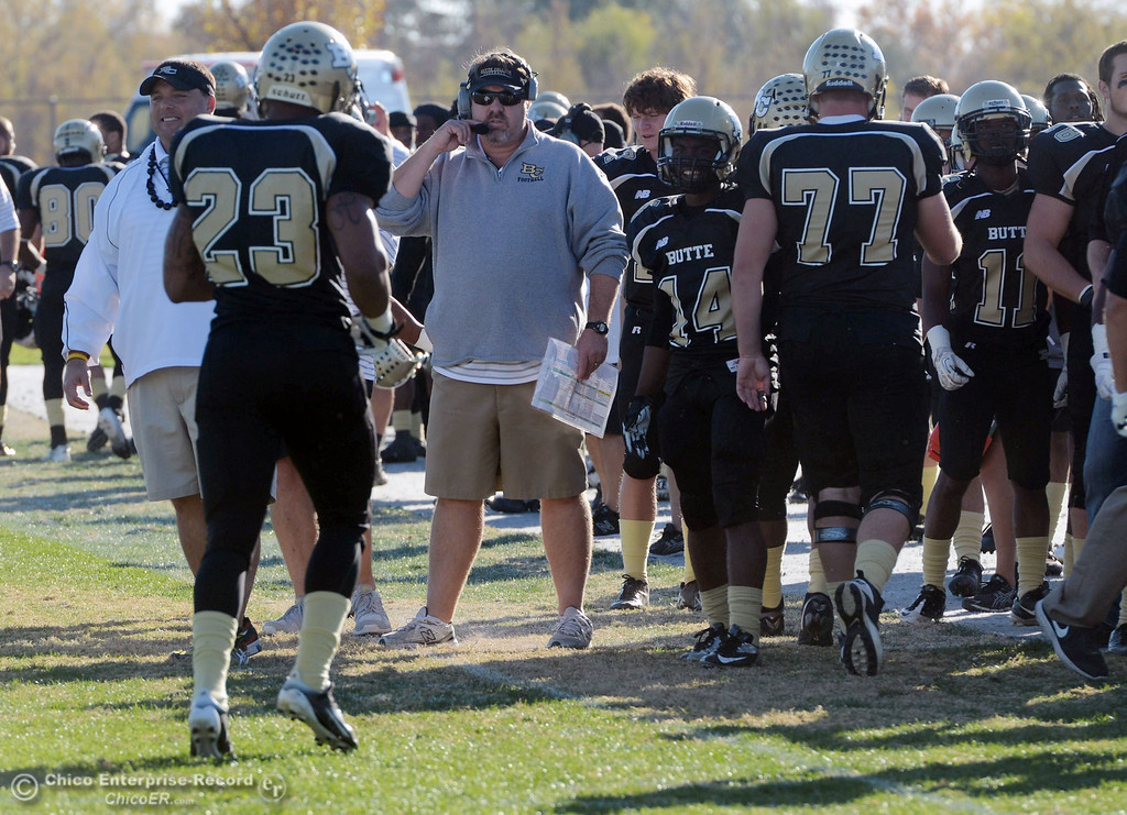 . Butte College head coach Jeff Jordan looks on against Fresno City College in the third quarter of their football game at Butte\'s Cowan Stadium Saturday, November 30, 2013 in Butte Valley, Calif.  (Jason Halley/Chico Enterprise-Record)