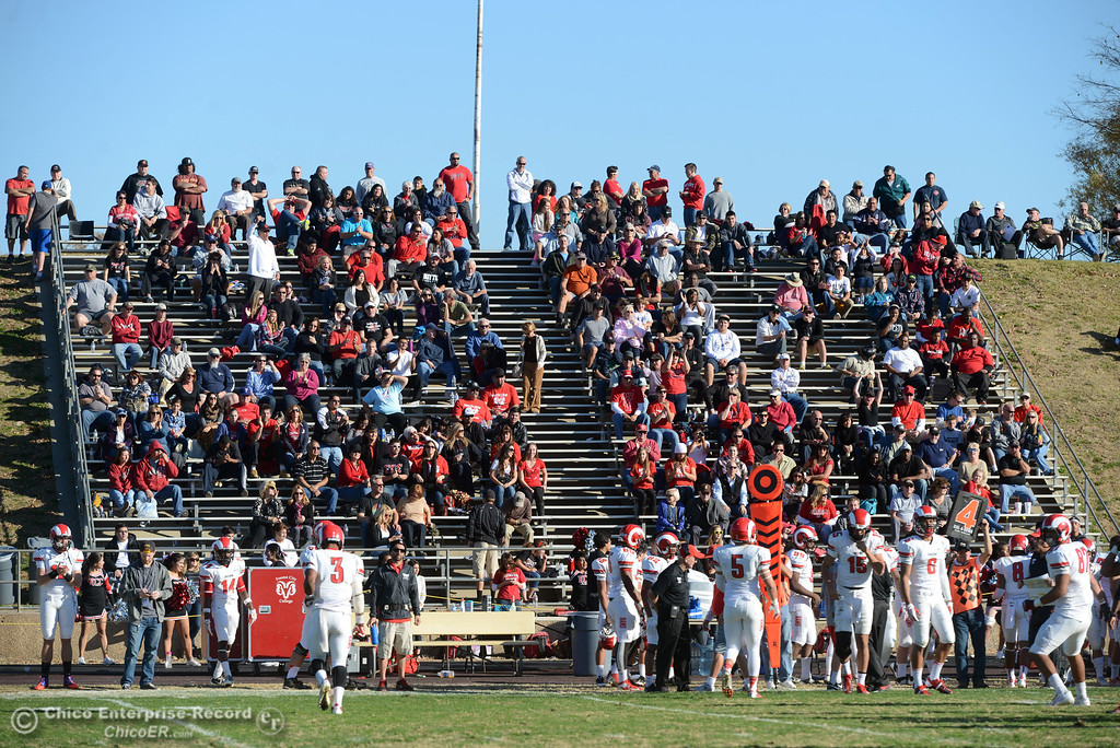 . Butte College against Fresno City College fans in the third quarter of their football game at Butte\'s Cowan Stadium Saturday, November 30, 2013 in Butte Valley, Calif.  (Jason Halley/Chico Enterprise-Record)