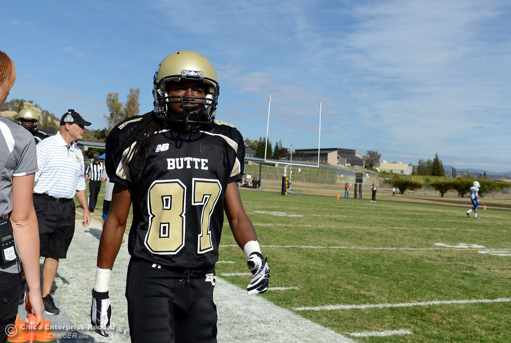 . Butte College\'s #87 Timazray Shepherd on the sidelines against San Mateo College in the first quarter of their football game at Butte\'s Cowan Stadium Saturday, November 2, 2013 in Oroville, Calif.  (Jason Halley/Chico Enterprise-Record)