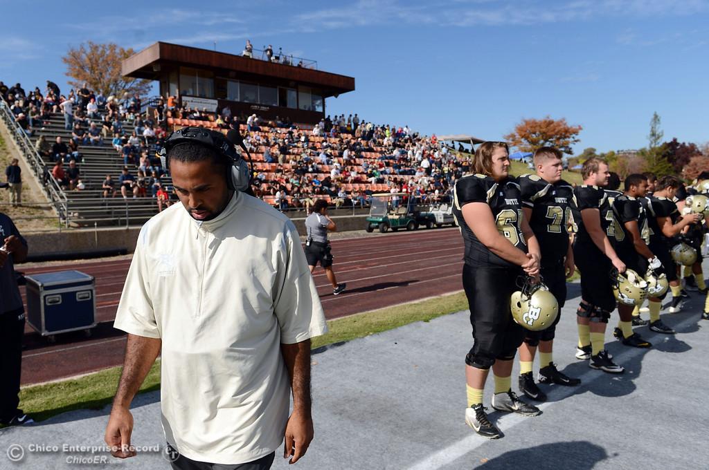 . Butte College coach Bobby Bernal on the sidelines against San Mateo College in the first quarter of their football game at Butte\'s Cowan Stadium Saturday, November 2, 2013 in Oroville, Calif.  (Jason Halley/Chico Enterprise-Record)