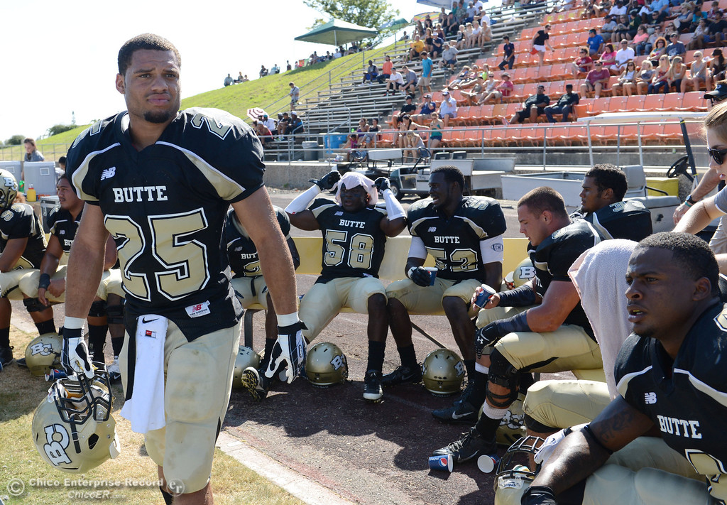 . Butte College\'s #25 Gooden De\'Aundray looks on against College of the Siskiyous in the third quarter of their football game at Butte\'s Cowan Stadium on Saturday, September 14, 2013, in Oroville, Calif. (Jason Halley/Chico Enterprise-Record)